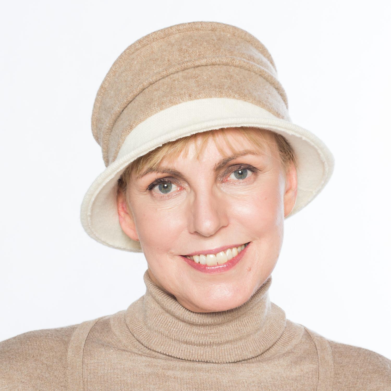 Hüte von Hand Calotta bicolor beige-weiß
