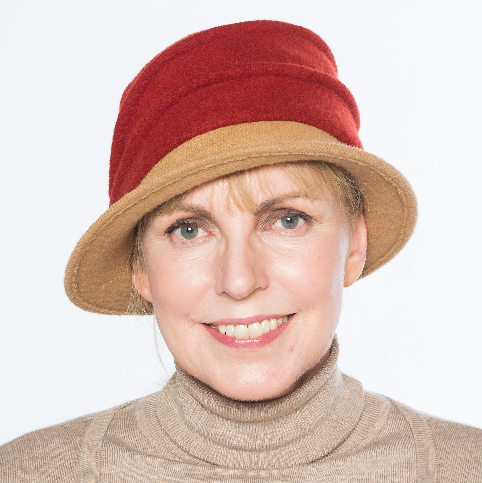 Hüte von Hand Calotta bicolor camel-rost