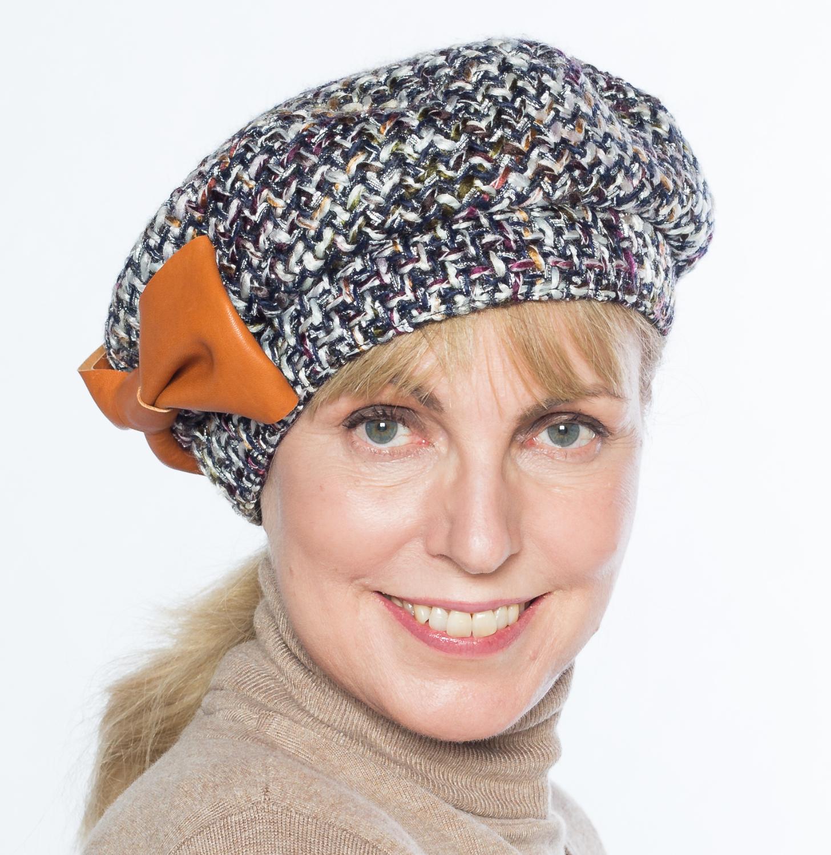 Hüte von Hand Baske bouclé Lederschleife