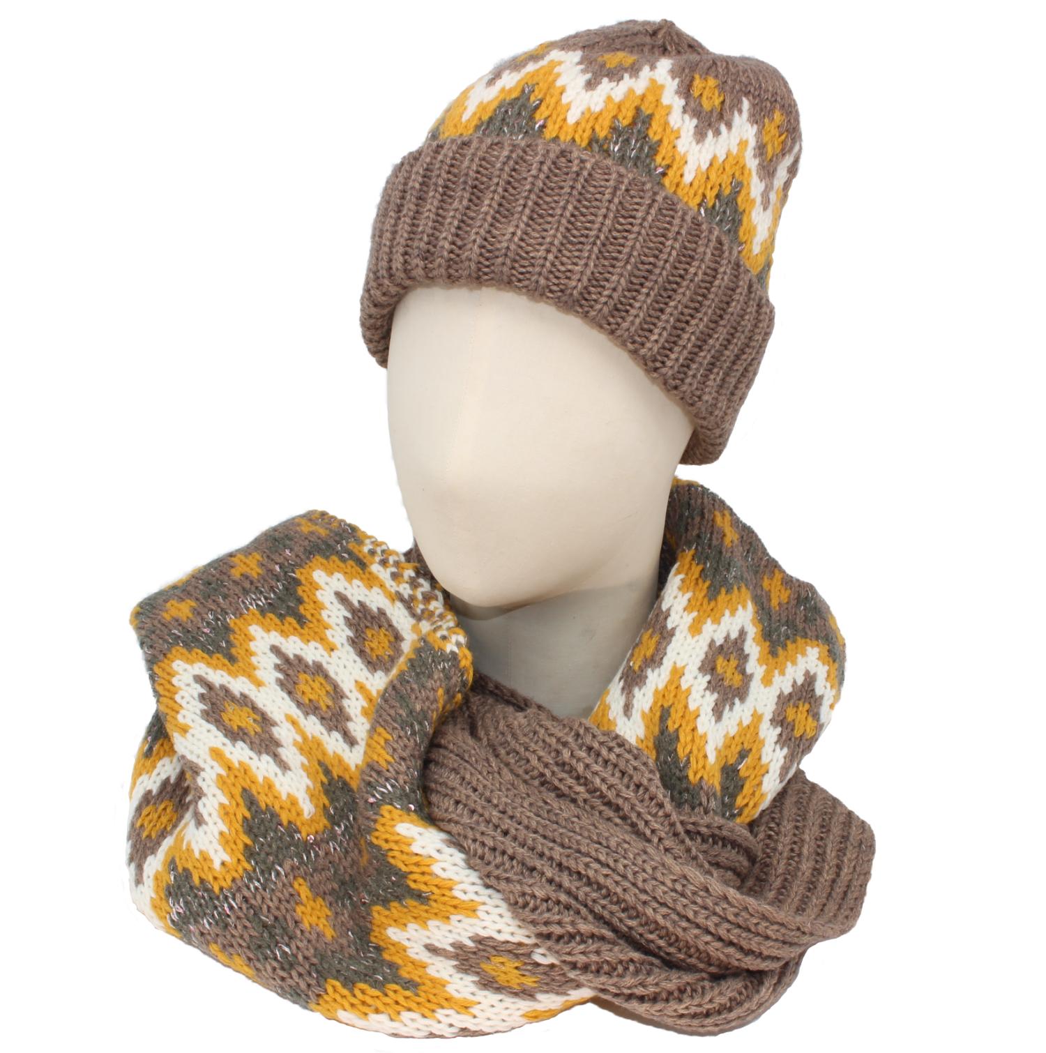 Seeberger  Norweger Glamour Schal und Mütze
