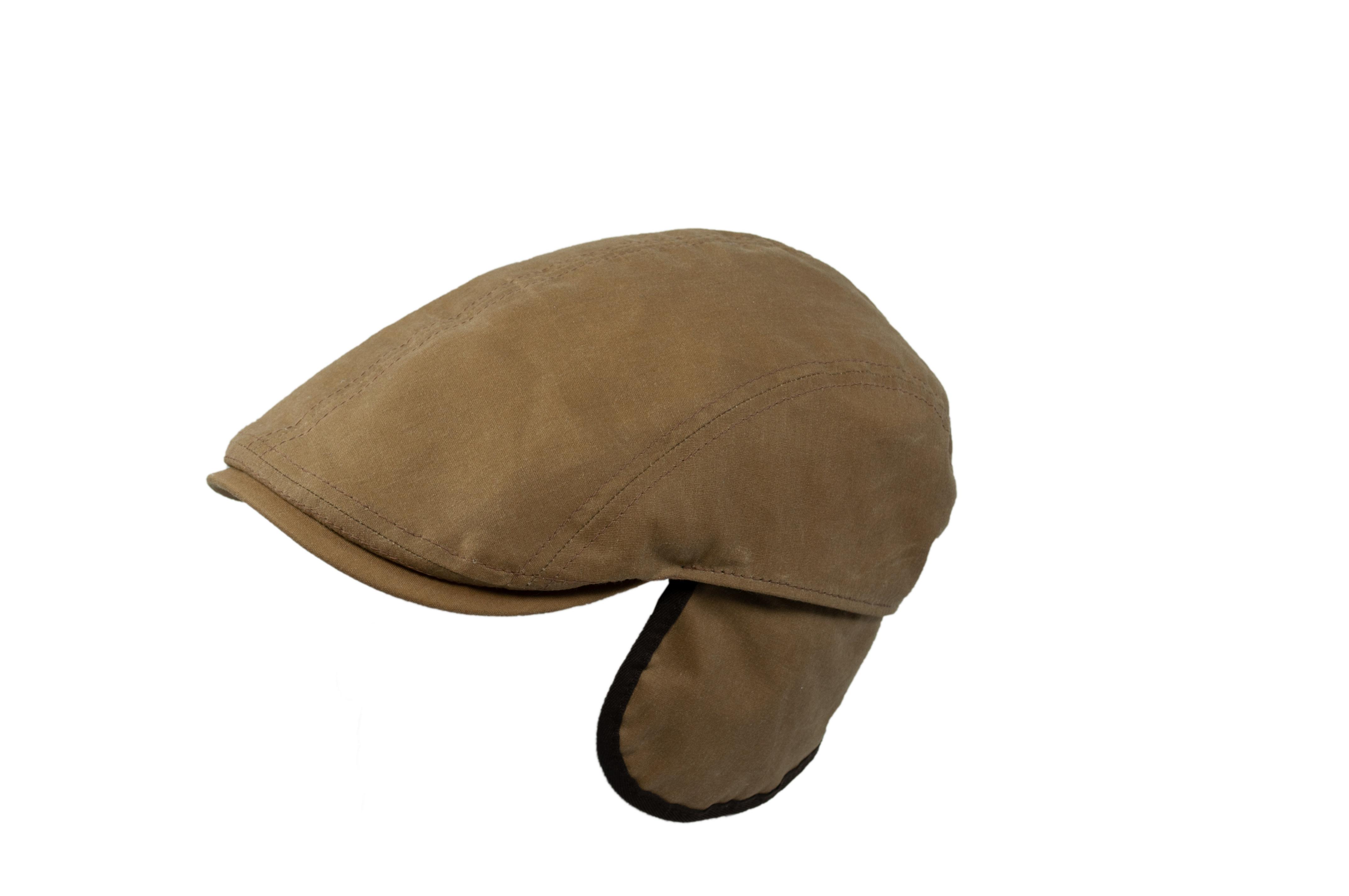 Mütze 2-teilig + Klappe -  oil skin cotton 59 cm Grau