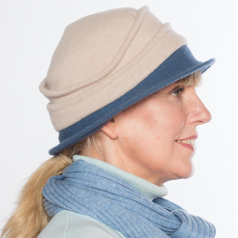 Hüte von Hand Calotta Bicolor denim-kiesel Kiesel