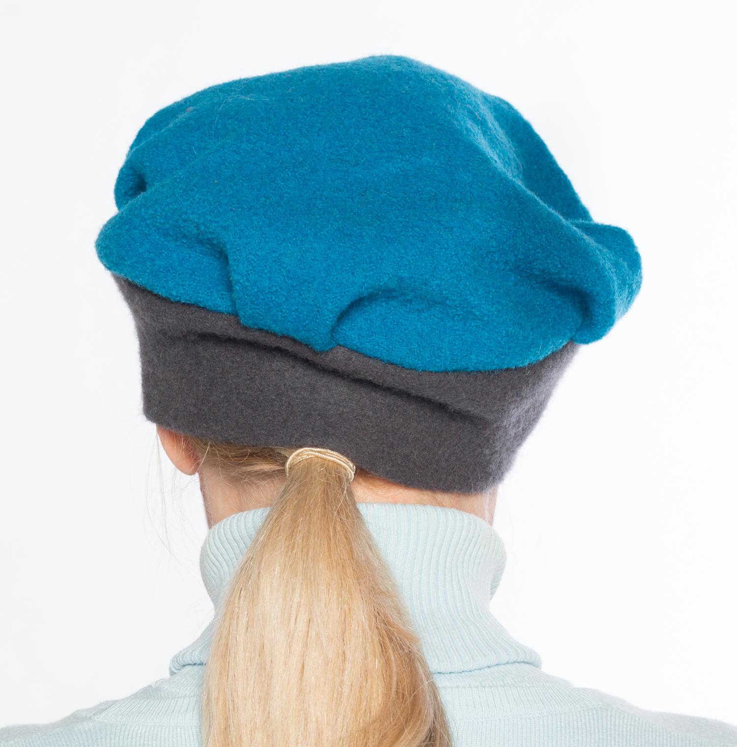 Hüte von Hand Kerstin bicolor azur-anthrazith