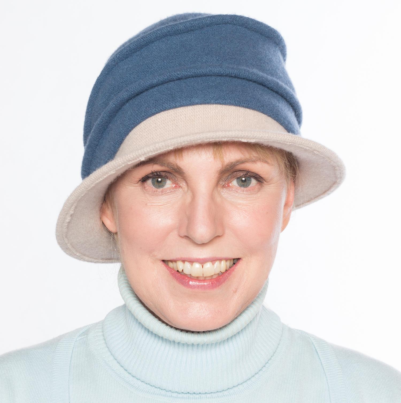 Hüte von Hand Calotta Bicolor denim-kiesel