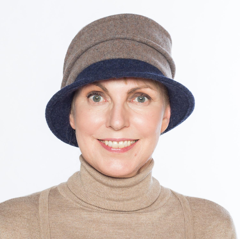 Hüte von Hand Calotta bicolor taupe-marine