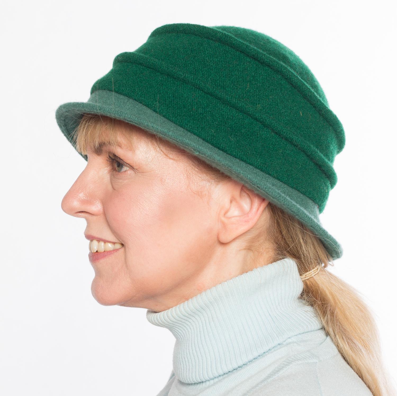 Hüte von Hand Calotta bicolor forest-malachit Forest