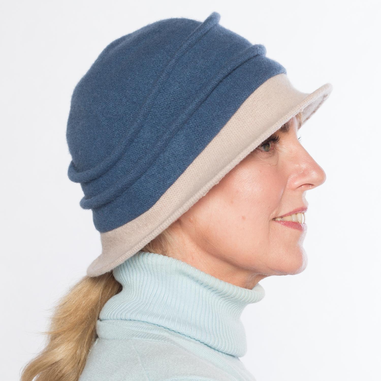 Hüte von Hand Calotta Bicolor denim-kiesel Denim